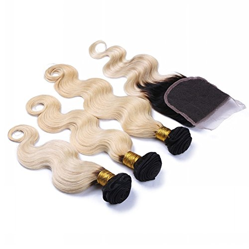 613 Bombshell Black Root Blonde Body Wave Closure
