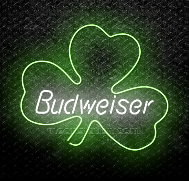Budweiser St Patrick's Day Four Leaf Clover Neon Sign