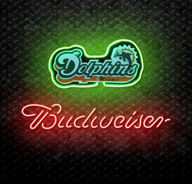 Bud NFL Miami Dolphins Budweiser Neon Sign