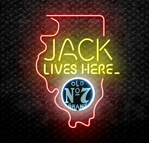 Jack Daniels Lives Here Illinois Neon Sign