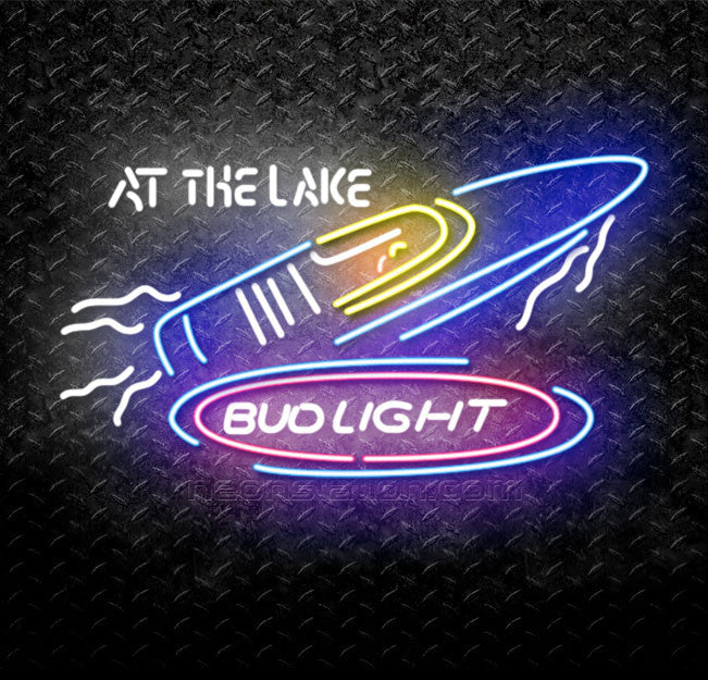 Bud Light Speedboat At The Lake Neon Sign