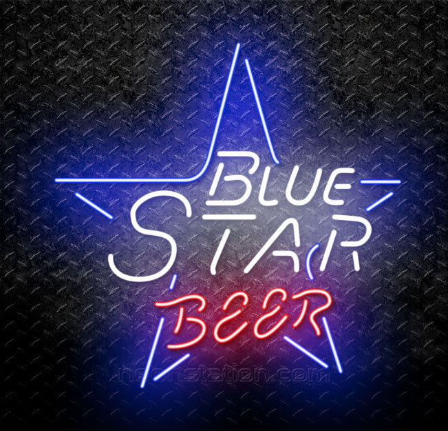 Blue Star American Wheat Beer Neon Sign