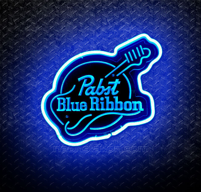 Pabst Blue Ribbon Guitar 3D Neon Sign