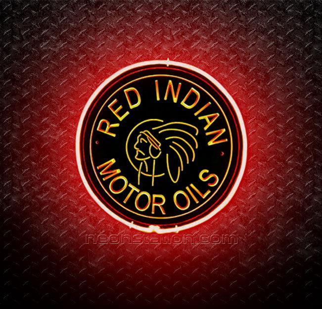 Red Indian Motor Oils 3D Neon Sign