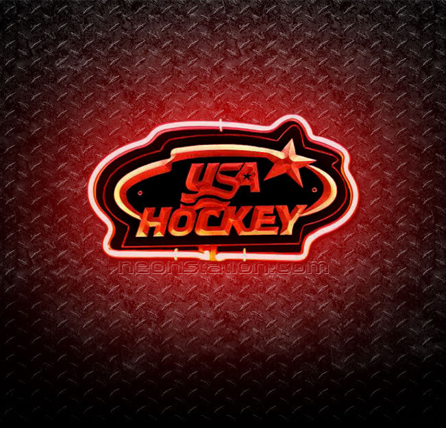 USA Hockey 3D Neon Sign