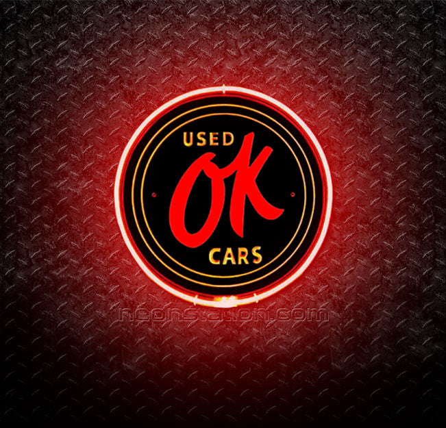 OK Used Car Store Gas Oil Station 3D Neon Sign