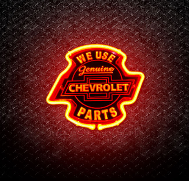 We Use Genuine Chevrolet Chevy Parts 3D Neon Sign