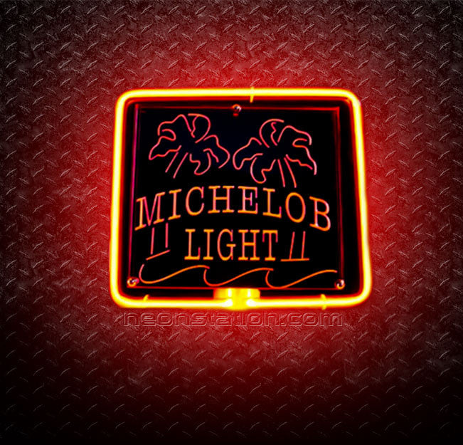 Michelob Light Dual Palm Trees 3D Neon Sign