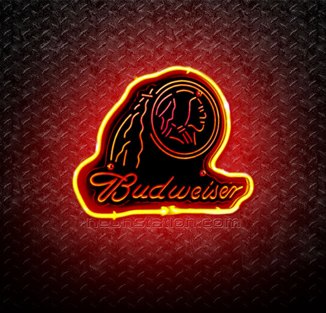 NHL Budweiser Chicago Blackhawks Indian 3D Neon Sign