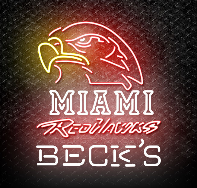 Becks Miami University Redhawks Neon Sign Neon Sign