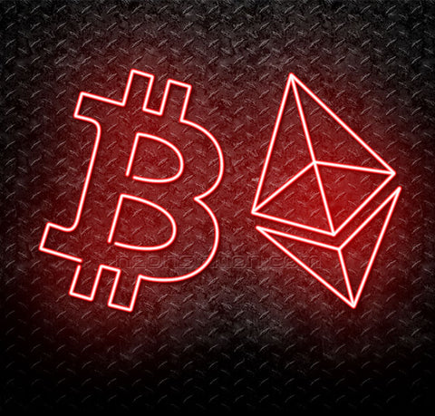 Bitcoin And Ethereum Cryptocurrency Logo Neon Sign