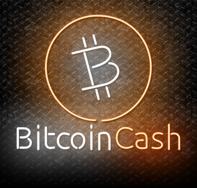 Bitcoin Cash Cryptocurrency Logo Neon Sign