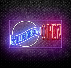 Blue Moon Red Open Neon Sign