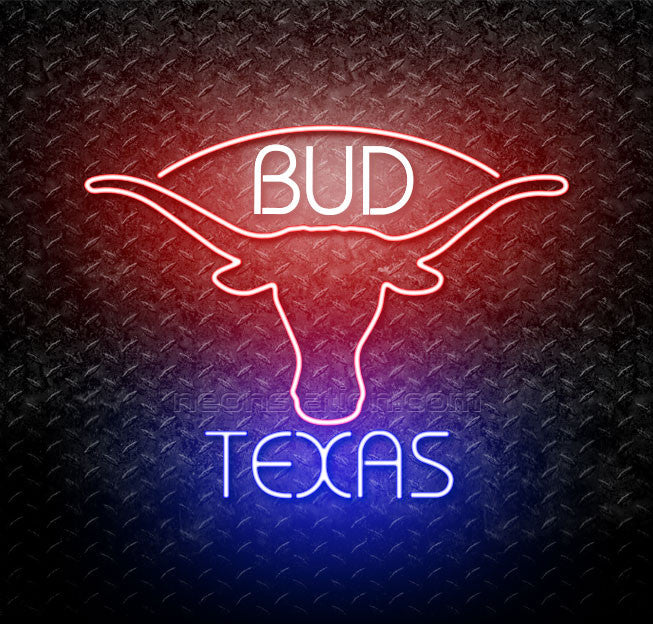Bud Blue Texas Red Longhorn Neon Sign
