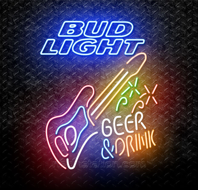 Bud Light Beer And Drink Guitar Neon Sign