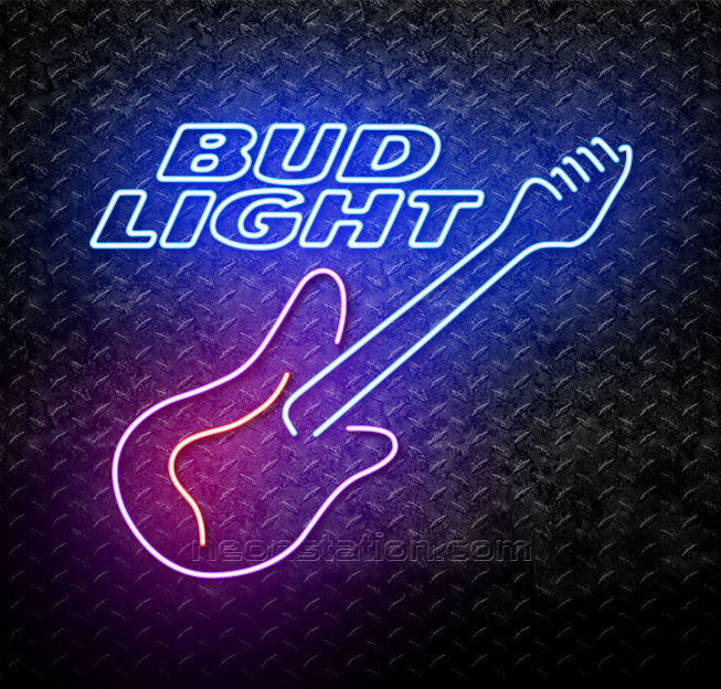 Bud Light Guitar Purple Red Neon Sign