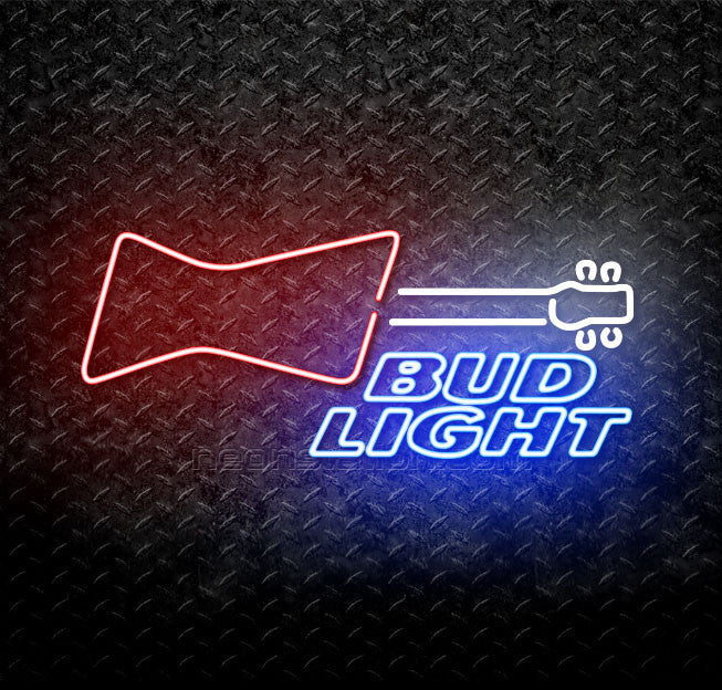 Bud Light Red White Guitar Neon Sign