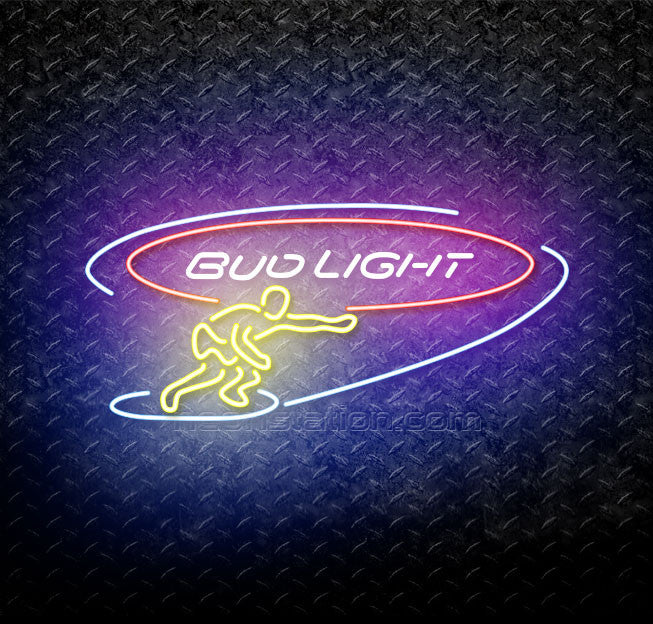 Bud Light Surf Snow Boarder Neon Sign