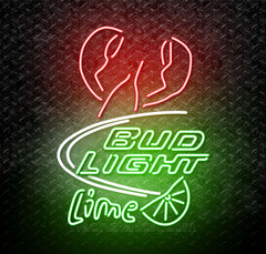 Bud Light Lime Bar With Lobster Neon Sign