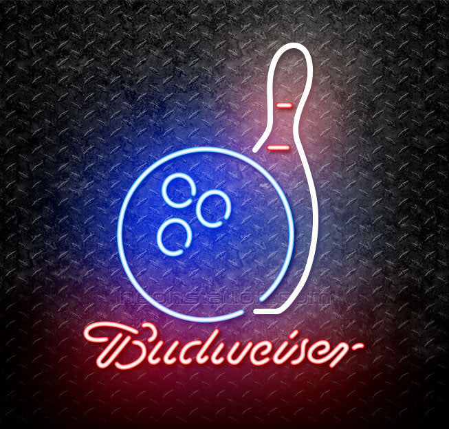 Budweiser Bowling and Pins Neon Sign