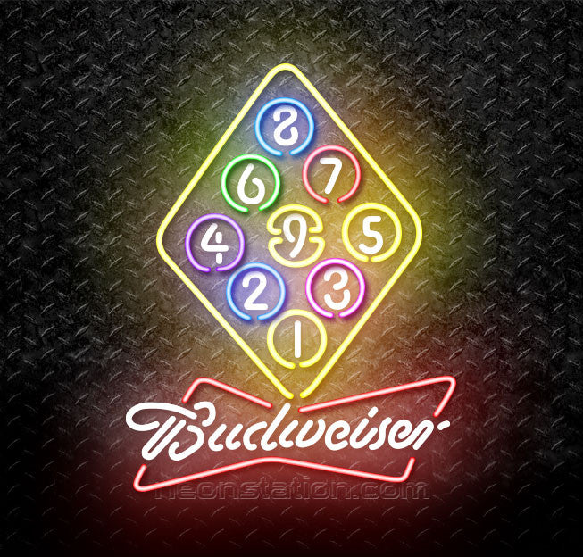 Budweiser Bowtie Billiards Rack Pool Neon Sign