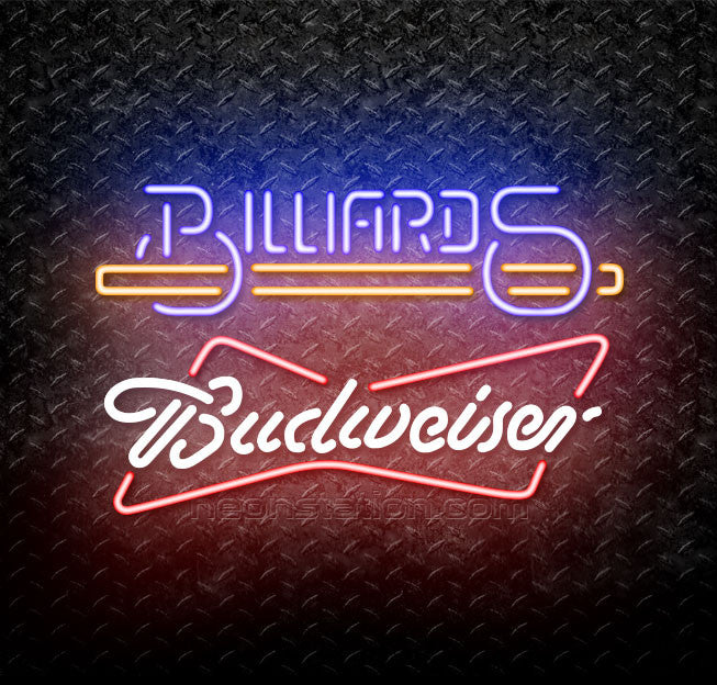 Budweiser Bowtie Billiards Text With Stick Pool Neon Sign