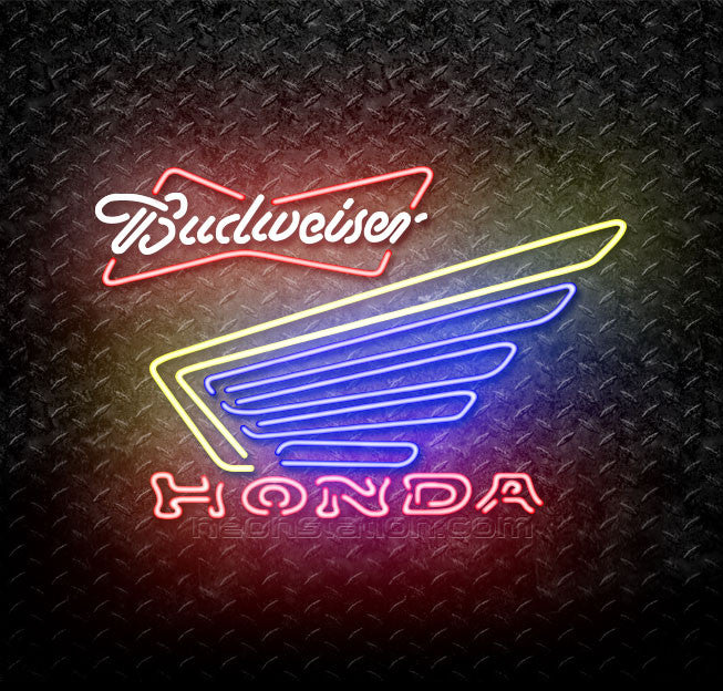 Budweiser Bowtie Honda Motorcycle Gold Wing Neon Sign