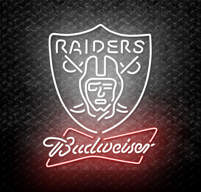 Budweiser Bowtie NFL Oakland Raiders Neon Sign