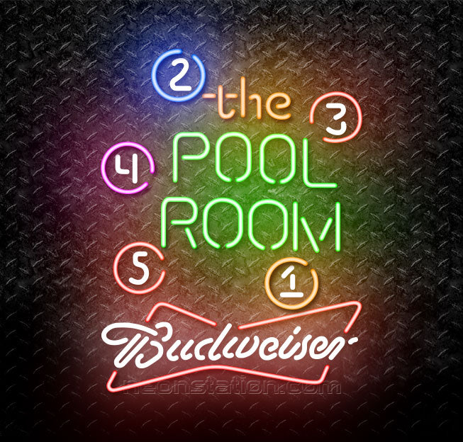Budweiser Bowtie Pool Room Billiards Neon Sign