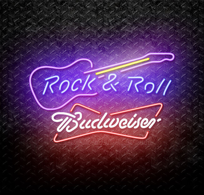 Budweiser Bowtie Rock & Roll Guitar Neon Sign