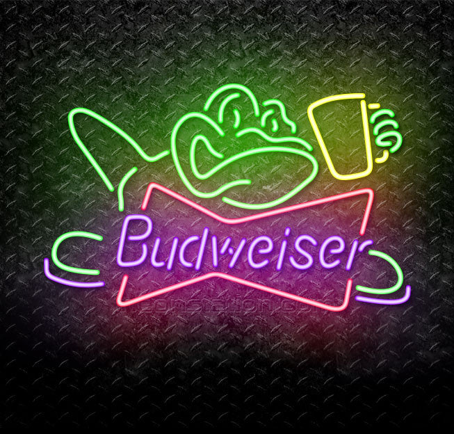 Budweiser Frog With Beer Mug Neon Sign