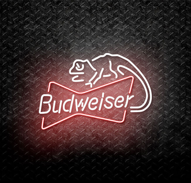 Budweiser Louie Lizard Bowtie Neon Sign