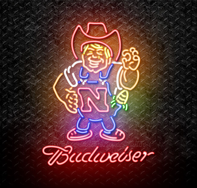 Budweiser Nebraska Cornhuskers Herby The Huskers Neon Sign