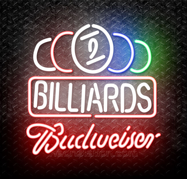 Budweiser Neon Ball Billiards Text Pool Neon Sign