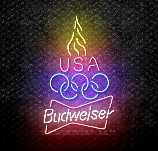 Budweiser Olympic Torch Neon Sign