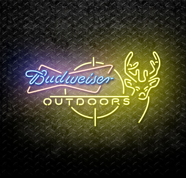 Budweiser Outdoors Deer Hunting Neon Sign