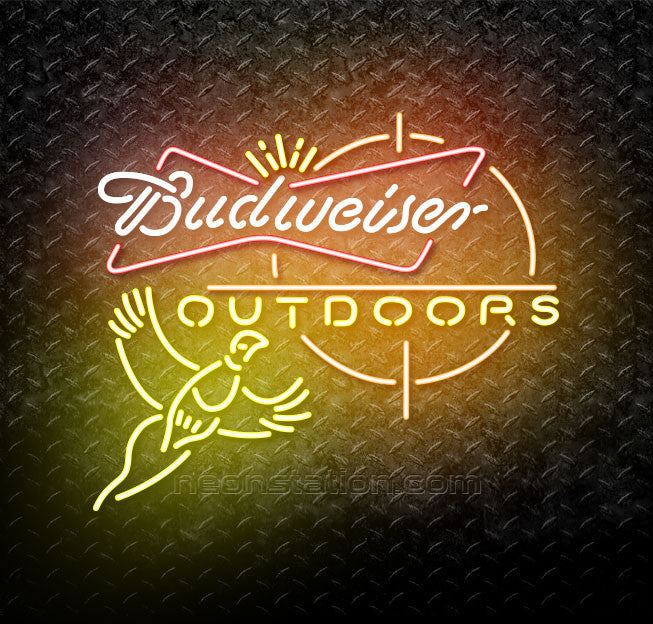 Budweiser Outdoors Pheasant Hunting Neon Sign