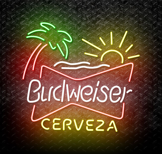 Budweiser Palm Tree Cerveza Neon Sign