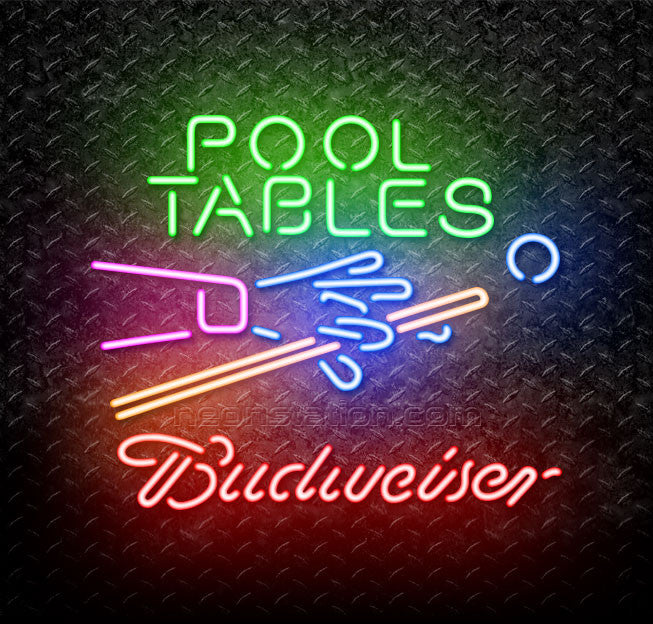 Budweiser Pool Tables Billiards Neon Sign