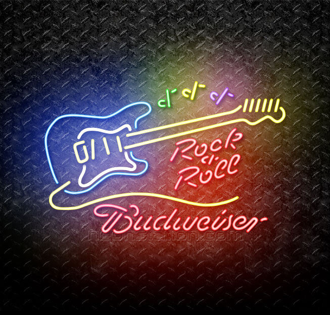 Budweiser Rock & Roll Yellow Guitar Neon Sign