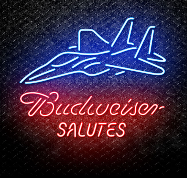 Budweiser Salutes Fighter Jet Neon Sign