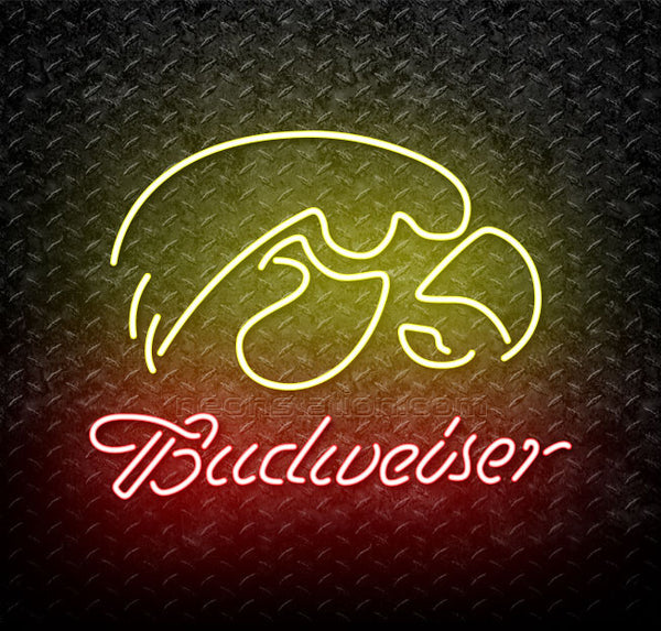 Budweiser University of Iowa Hawkeyes Neon Sign For Sale