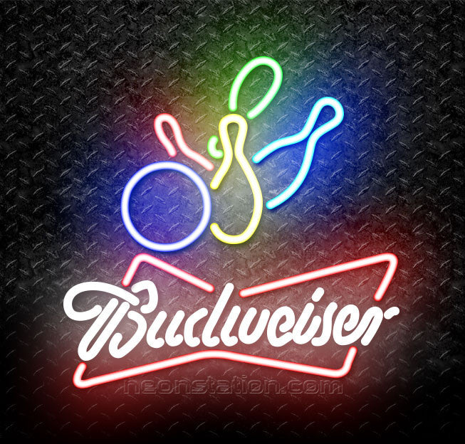 Budweiser White Colored Bowling Neon Sign