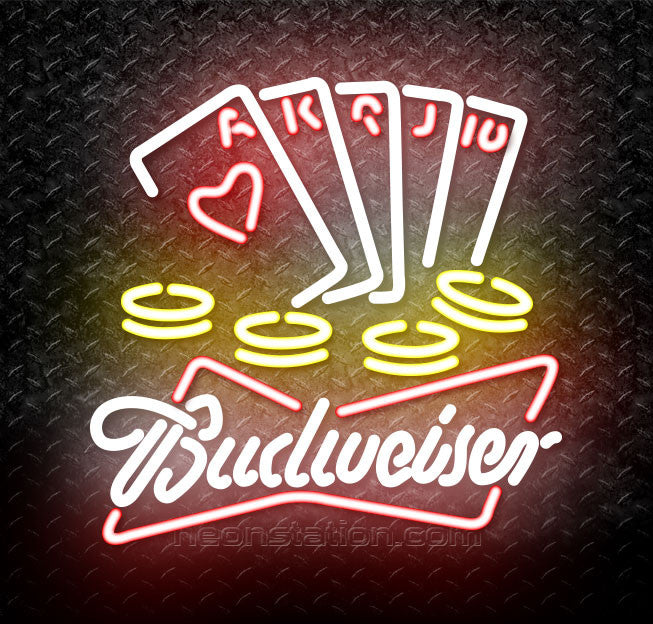 Budweiser White Poker Ace Series Neon Sign