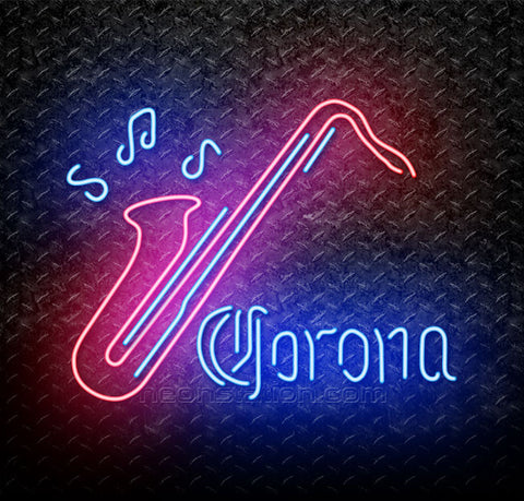 Corona Saxophone Jazz Neon Sign