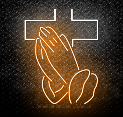 Crosses With Praying Hands Neon Sign