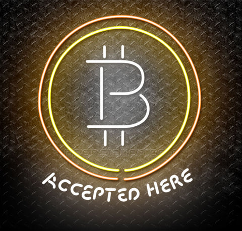Bitcoin Cryptocurrency Accepted Here Logo Neon Sign