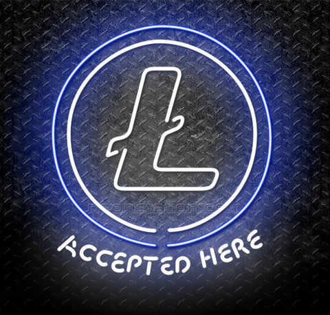 Litecoin Cryptocurrency Accepted Here Logo Neon Sign