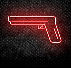 Handgun Pistol Neon Sign