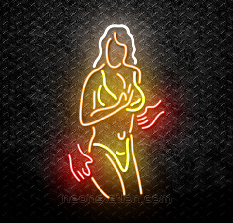 Hands Off! Strip Girl In Bikini Neon Sign